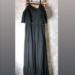 GNW Black Cold Shoulder Long Maxi Dress NWT